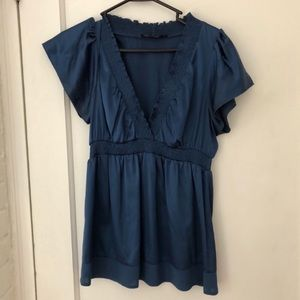 BCBGMaxAzria Silk Wrap Blouse In Blue